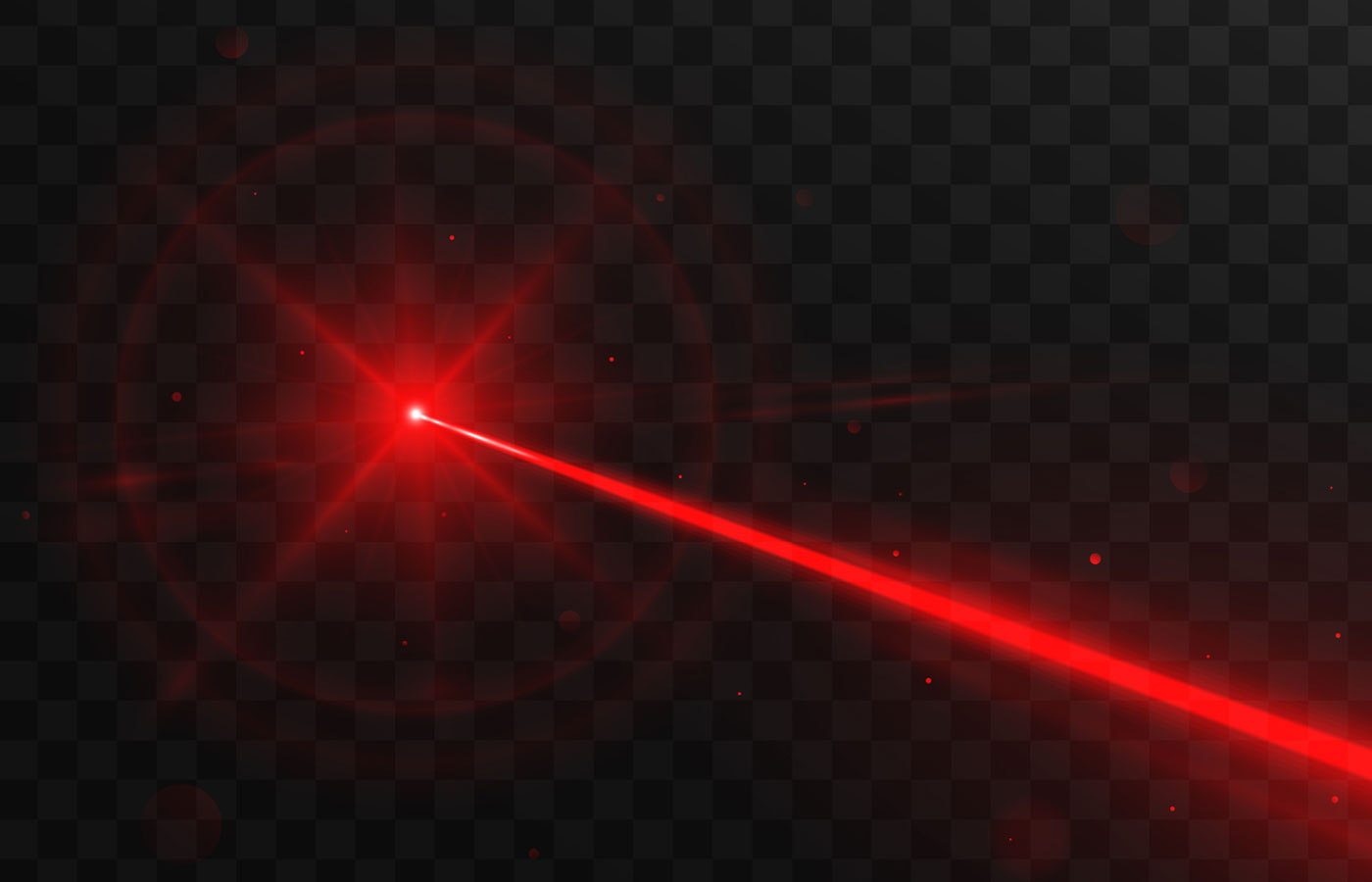 Abstract red laser beam. Isolated on transparent black background